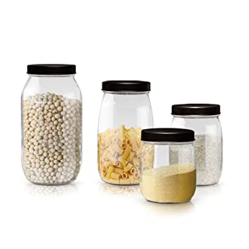 Amazoncom Clear Glass Canister Jars with Black Lids For Kitchen