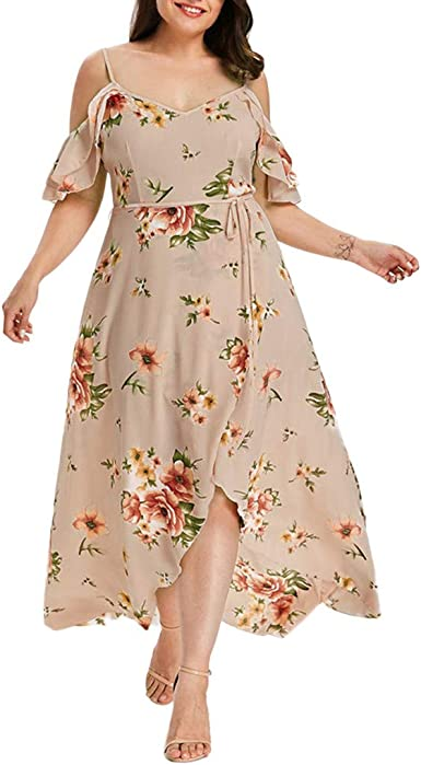 Women/'s Off the Shoulder Spagetti Straps Floral Print Maxi Dress
