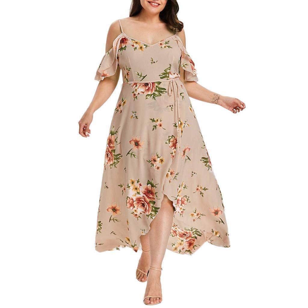 Fitfulvan Women's Plus Size Casual Short Sleeve Cold Shoulder Boho Flower Print Long Dress Sling Bifurcation Dress Beige