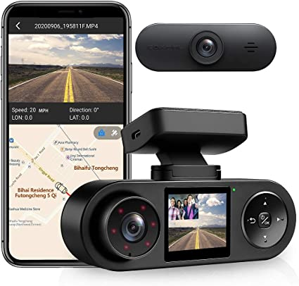 Amazon Com Coxpal Dual Dash Cam With Gps Wifi Supercapacitor Front 2k 30fps Dual 1080p Front And Inside Dash Camera Infrared Night Vision G Sensor Loop Recording Parking Monitor Supports 256gb Max Car Electronics