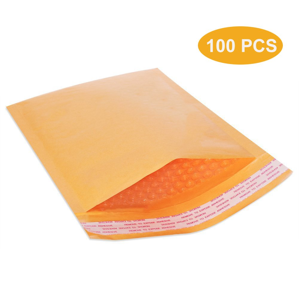 100 Pcs 8.5 x 12 inches Premium Kraft Bubble Cushioned Mailers Self Seal Padded Shipping Envelopes