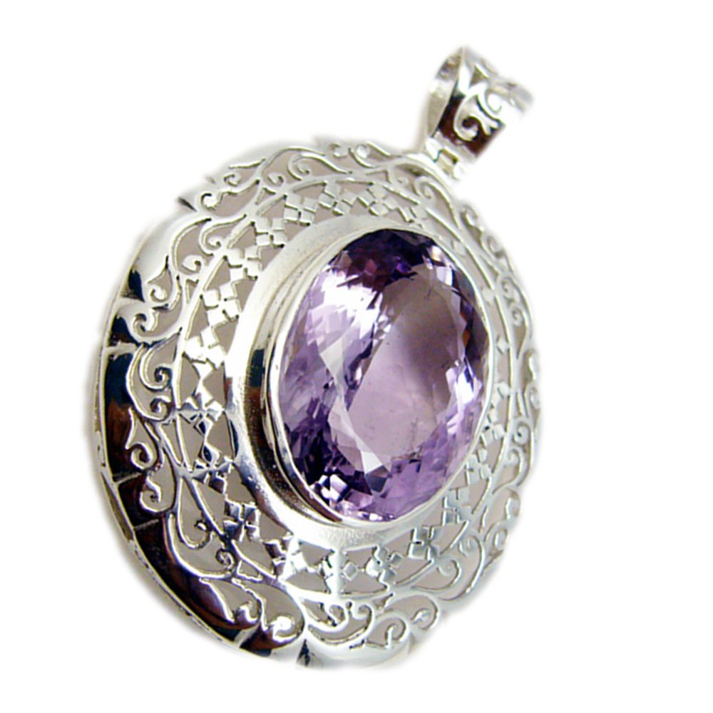 Natural Amethyst Pendant For Women Silver February Birthstone Jewelry Chakra Healing Victorian Necklace