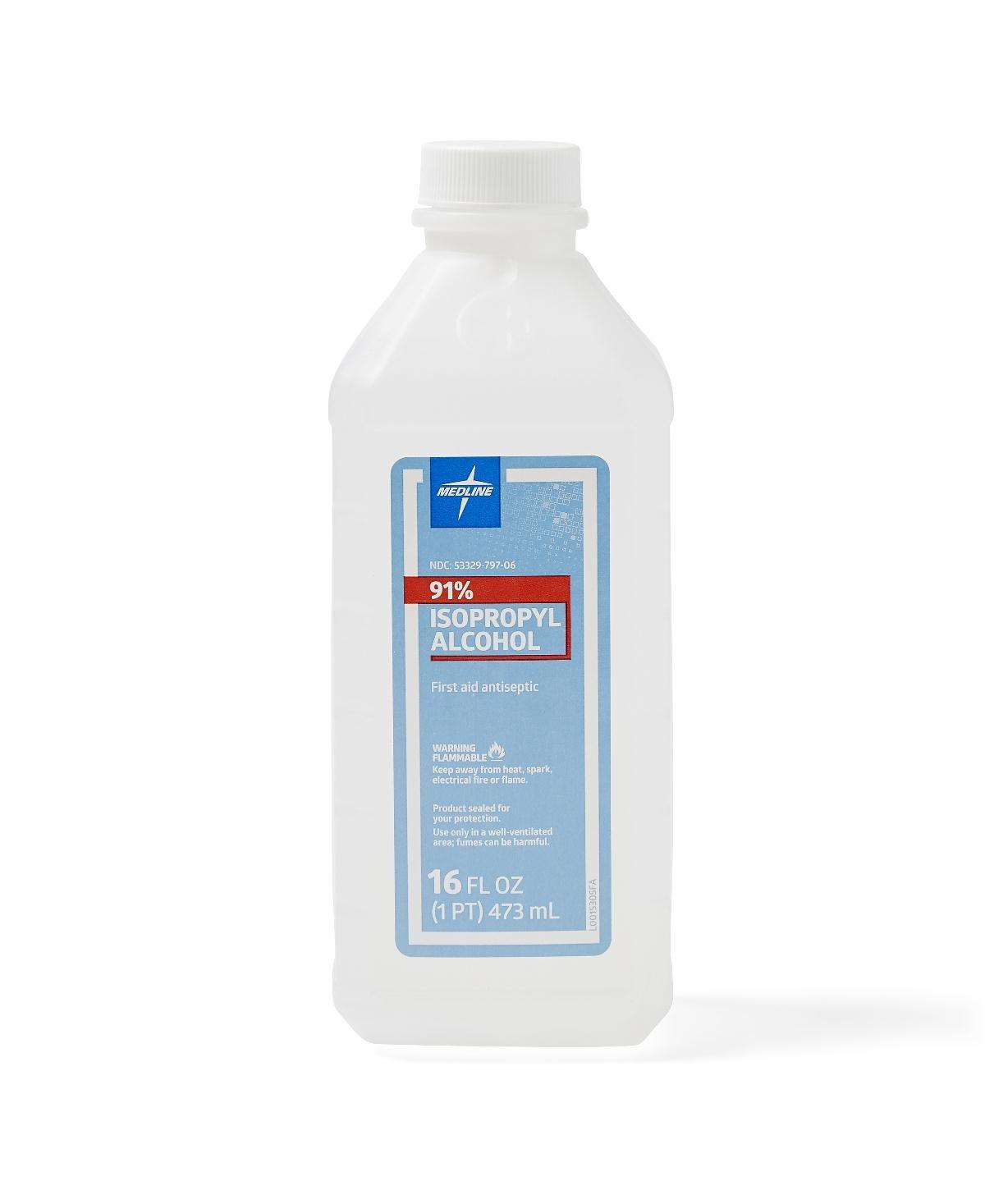 Medline MDS098012H Isopropyl Alcohol, 91%, 16 oz. Bottle