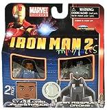 Iron Man 2 Movie Exclusive Minimates Mini Figure 2Pack Lt. Colonel James Rhodes Air Assault Drone