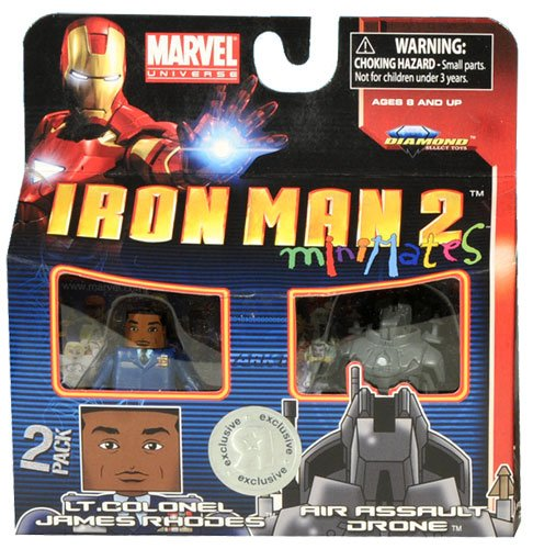 Iron Man 2 Movie Exclusive Minimates Mini Figure 2Pack Lt. Colonel James Rhodes Air Assault Drone by Diamond Select Toys