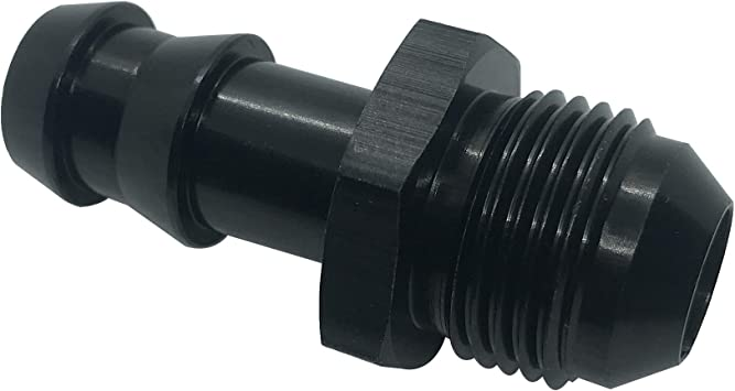 8AN Male Flare to 1//2 Hose Barb Aluminum Fittings AN8-1//2 Push On Barb Fuel Line Adapter Straight Black