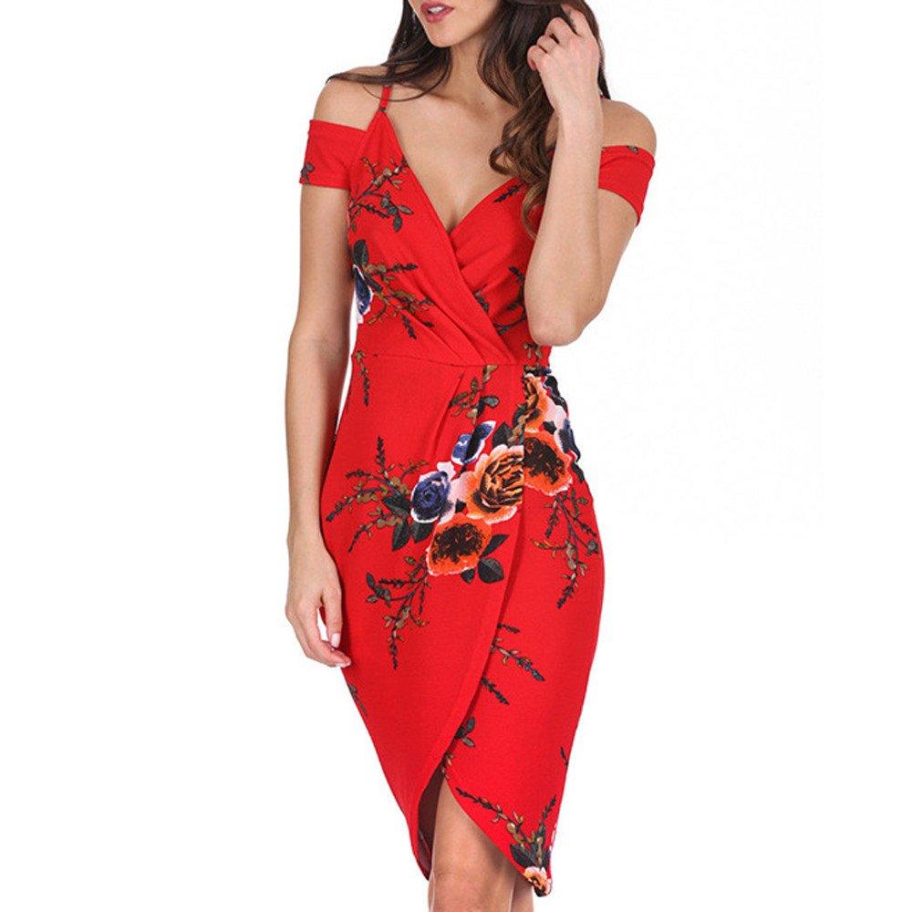 Winsummer Women's Vintage Floral Printed V Neck Off Shoulder Spaghetti Strap Slim Bodycon Dress Red