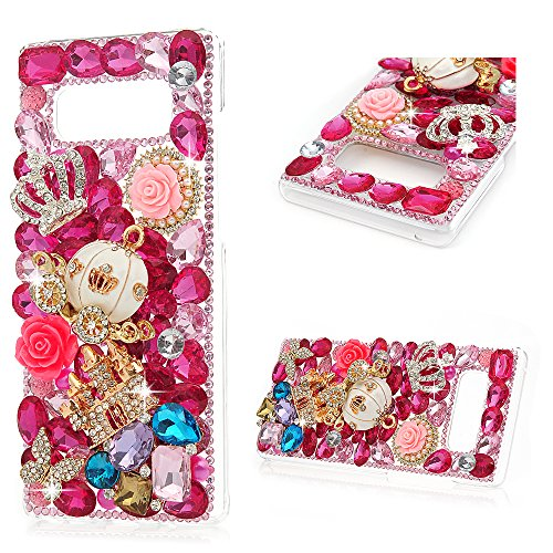 Maviss Diary Note 8 Case, Clear Slim Fit Luxury 3D Handmade Bling Crystal Rhinestone Diamonds Pink Carriage Crown Castle Full Body Protective Hard PC Cover for Samsung Galaxy Note 8