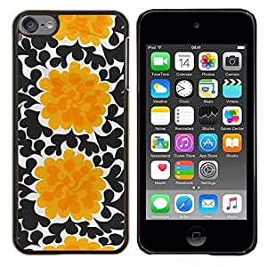 LECELL--Funda protectora / Cubierta / Piel For Apple iPod Touch 6 6th Touch6 -- Flores Negro Arte Wallpaper --