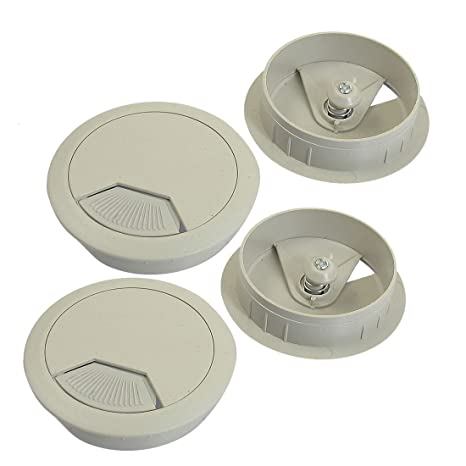 Cubierta de cable de agujero - SODIAL(R) 5cm diametro pasacables gris claro Cubierta