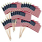Online Stores USA Stick Flag with Spear Tip, 4 by 6-Inch, 25-Pack