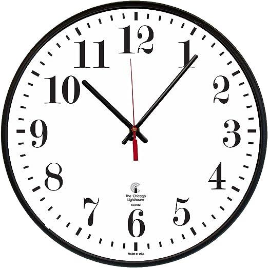 Amazon Com Chicago Lighthouse Large Quartz Slimline Clock 12 3 4 Black 67300002 Home Kitchen