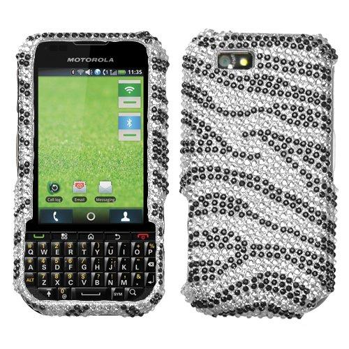 Zebra Motorola Faceplates (Black Zebra Skin Diamante Protector Faceplate Cover For MOTOROLA i1x(Titanium))