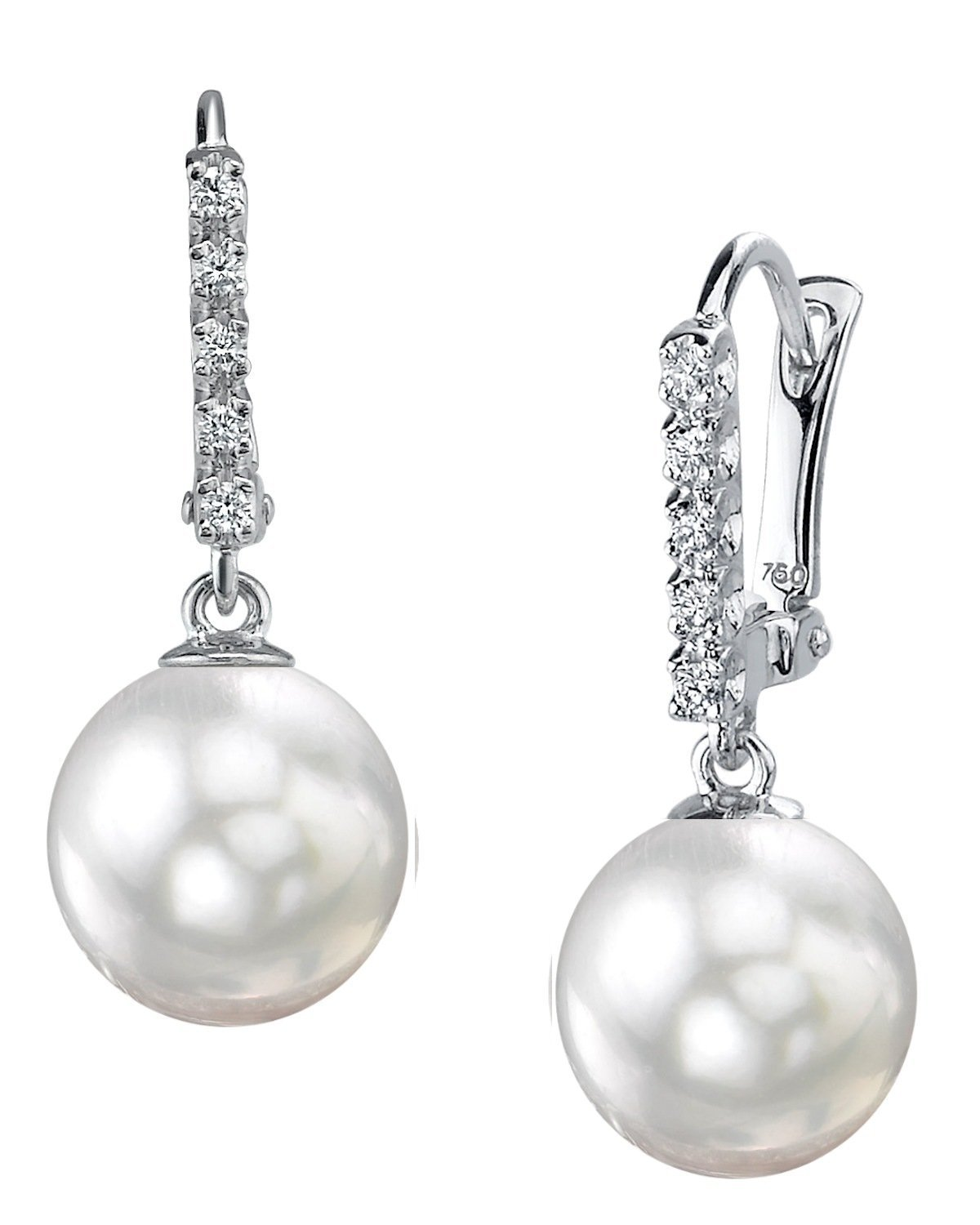 THE PEARL SOURCE 18K Gold 11-12mm Round Genuine White South Sea Cultured Pearl Britney Earrings for Women