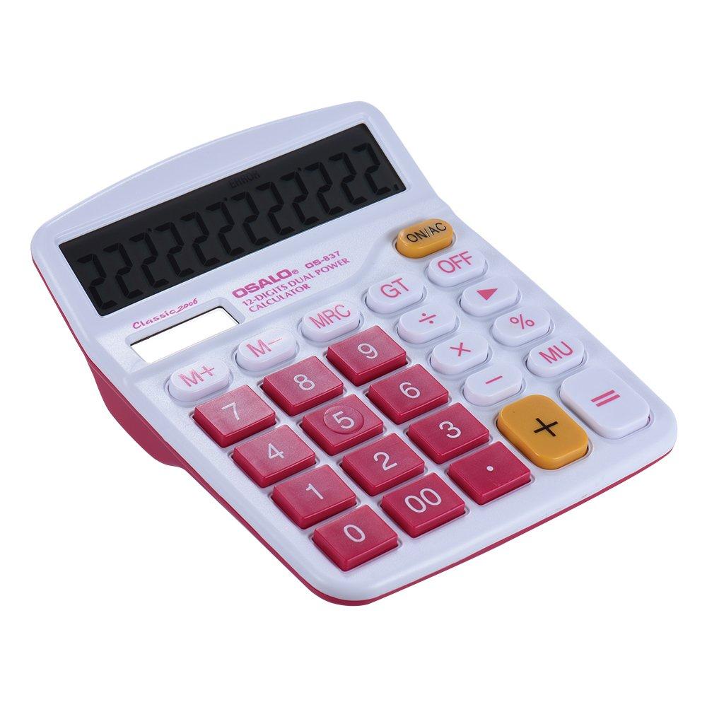 Aibecy Colorful funzione Standard Calcolatrice Solare e doppia alimentazione batteria 12 cifre KKmoon