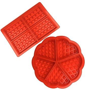 Forepin 2 Piezas Molde de Silicona para Waffle Horno Cacerola para Hornear Galletas: Amazon.es: Hogar