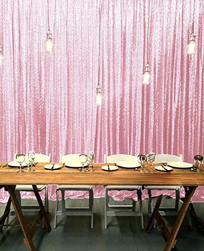 ShinyBeauty ピンク スパンコール 写真撮影用背景幕 10フィートx10フィート スパンコール フォトブース背景 結婚式の背景   B074SDVW5S