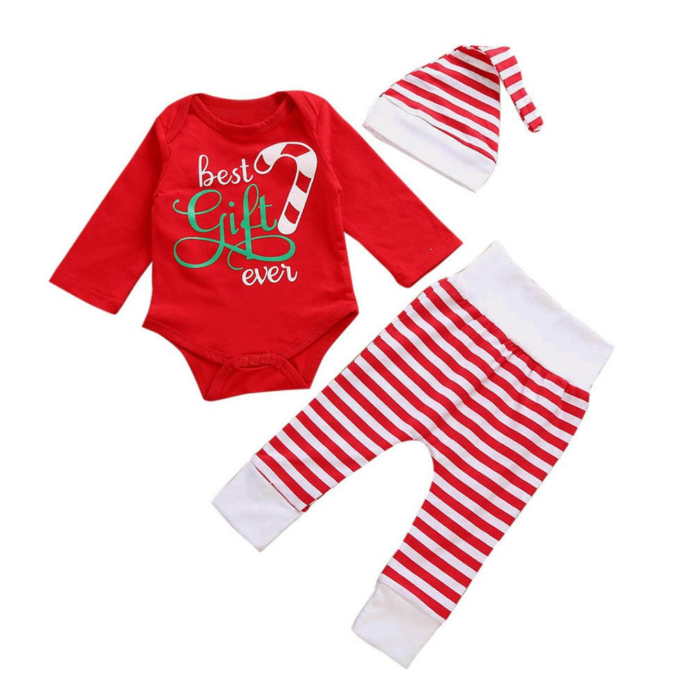 Christmas Newborn Kids Long Sleeve Outfit Baby Girls Boys Cotton Letter Print Romper Tops + Stripe Long Pants + Hat 3PCS Clothing Set for 0-18 Months 1PC Romper+1PC Pants+1PC Hat