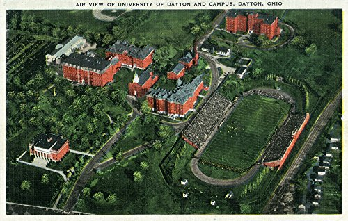 Dayton, Ohio - University of Dayton Aerial of Campus and Stadium Collectible Art Print,