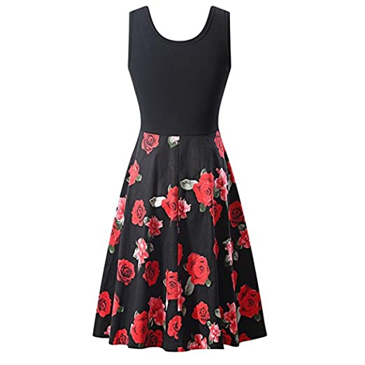 Vintage Printing Dress,Clearance! AgrinTol Women Casual Bodycon Sleeveless Evening Party Prom Swing Dress