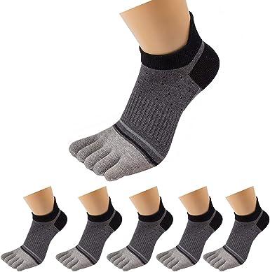 2 Pairs Mens Casual Toe Socks Premium Cotton Ankle Five Finger Socks Black EE