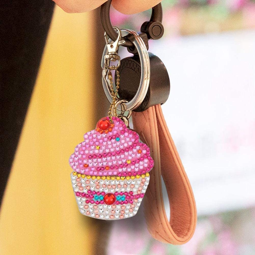 Aoewsie Portachiavi 5D con disegno di diamanti 4 pezzi fai da te a forma di cupcake