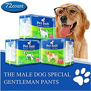 Pet Soft Disposable Male Wrap Dog Diaper, 72Count, S, White