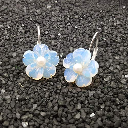 Exquisite Moonstone Opals Crystal Flowers Freshwater Pearl, Spinels Sterling Silver Earrings