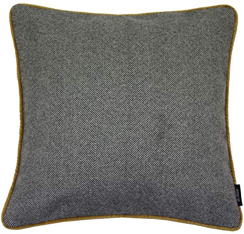 McAlister Boutique Herringbone XX-Large Euro Sham Pillow Cover | 26x26 Charcoal Gray with Ochre | Plush Wool-Textured Flannel Tweed | Farmhouse Cabin Accent Decor