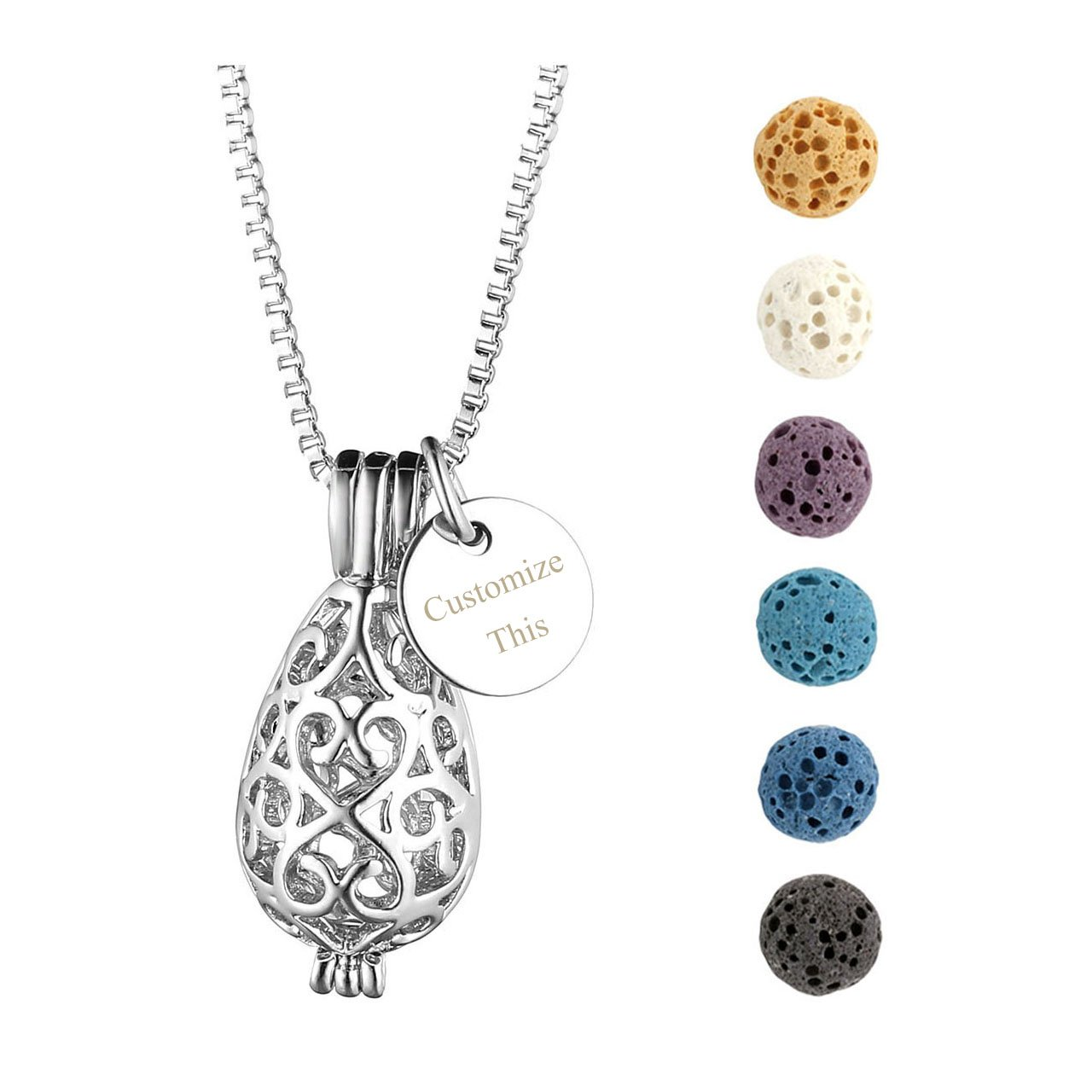 Jovivi Free Engraving - Personalized Custom Engraved Round Tag ID Necklace Silver Aromatherapy Essential Oil Diffuser Locket Pendant With 6 Dyed Lava Stone Beads(Oval)