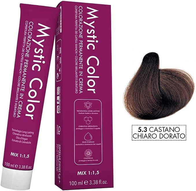 Mystic Color - Coloración Permanente en Crema con Aceite de Argán y Caléndula - Color Natural y Duradero - Tono 5.3 Castaño Dorado Claro - 100 ml