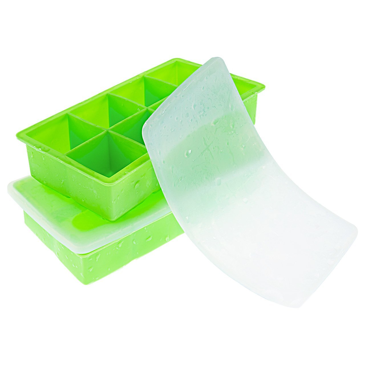 OMorc Ice Cube Trays 2 Pack,100% Silicone Easy Release, 2 inch Large Square Cubes, Flexible and Stackable Ice Trays with Spill-Resistant Removable Lid, BPA Free and Dishwasher Safe