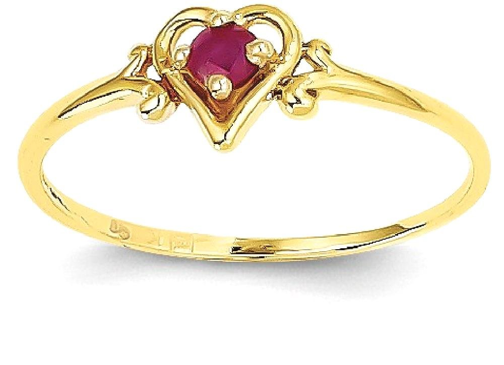 ICE CARATS 14k Yellow Gold Red Ruby Birthstone Heart Band Ring Size 7.00 S/love July Style Fine Jewelry Gift Set For Women Heart