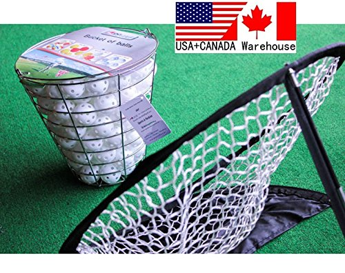 120pcs Golf practice air flow balls White training aids with metal wire range bucket + chipping net