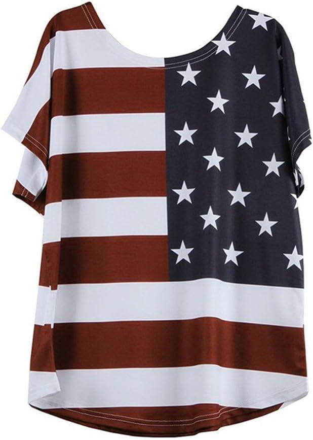 M, Red VEZARON Womens Loose Casual Short Sleeve Top T-Shirt Blouse Plus Size Print Star Stripe USA Flag T-Shirt