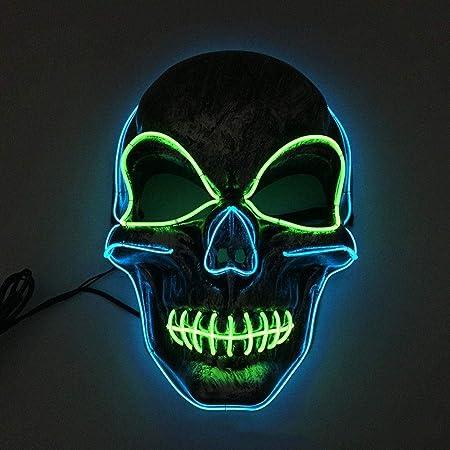 MONWSE Máscara de Halloween Máscaras de neón LED Scary Skull ...