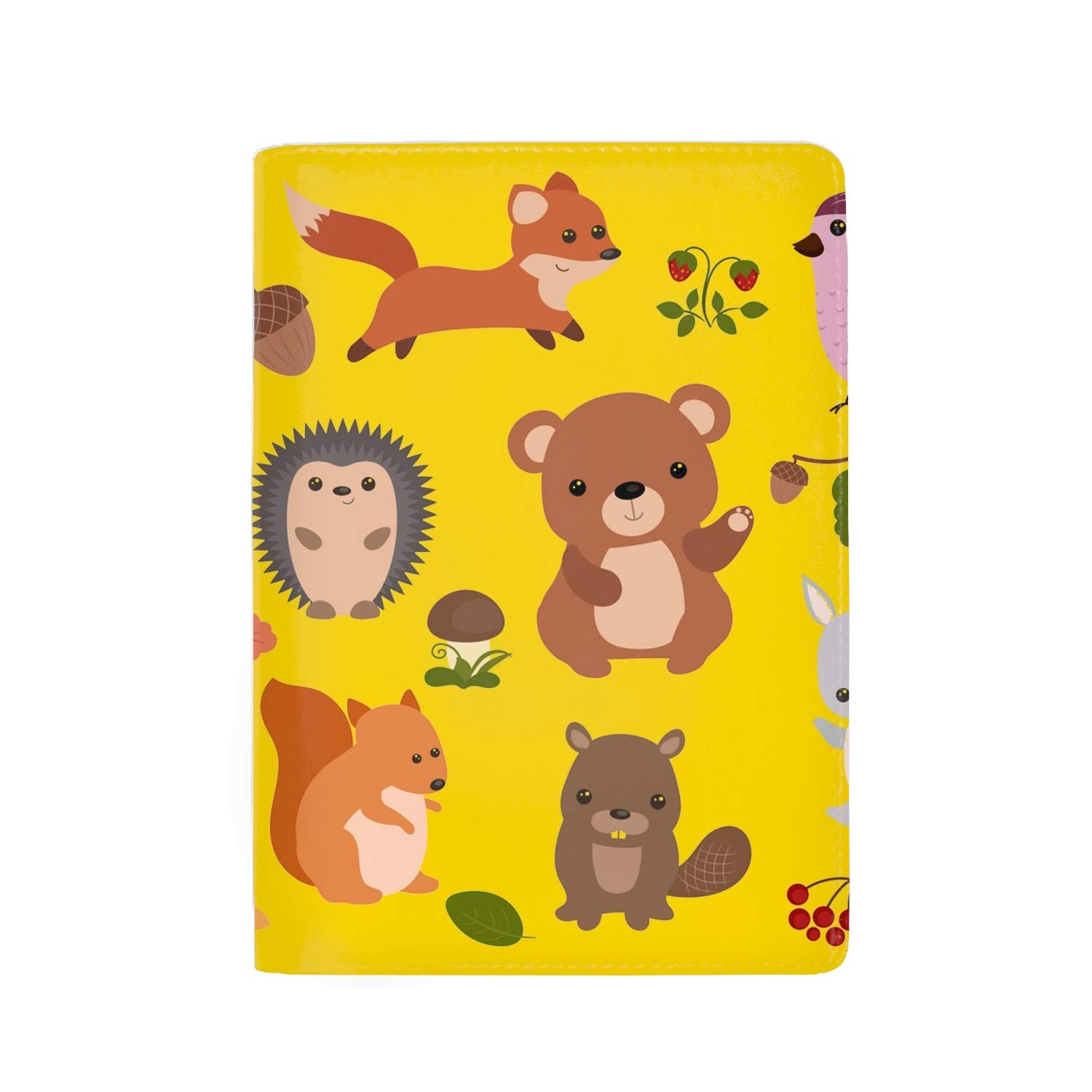 RFID Blocking Genuine Leather Passport Case Cover Holder Travel Wallet Funny Bears Sitting On Trees