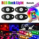 Kyпить Qauick 4Pcs Pods Car RGB LED Rock Underglow Lights Kit Underbody Waterproof Trail Rig Neon Lights Kit with Cell Phone APP Mini Blue tooth Control for JEEP Off Road Trucks Car ATV SUV Vehicle B на Amazon.com