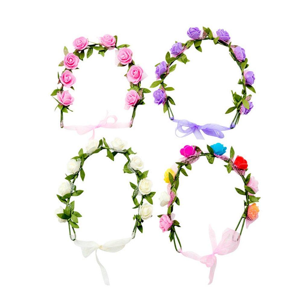 HABI 4 stk Blumenkranz Blumenkrone Haarkranz aus Handwerk , BOHO Blumenstirnband Dekoration für Party Festival oder Hochzeit für Frauen Mädchen Brautjungfer HBF