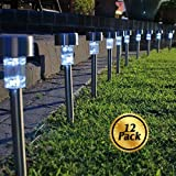 Solar Pathway lights [12 Pack], Koolife [Stainless Steel] Led Path Landscape Lights for Outdoor Garden Décor Lighting- Easy Installation- Weather and Water Resistant