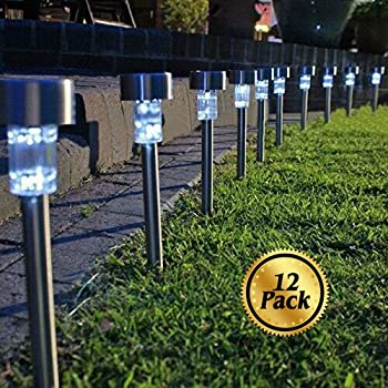 Charming Solar Pathway Lights [12 Pack], Koolife [Stainless Steel] Led Path  Landscape Lights For Outdoor Garden Décor Lighting  Easy Installation   Weather And Water ...