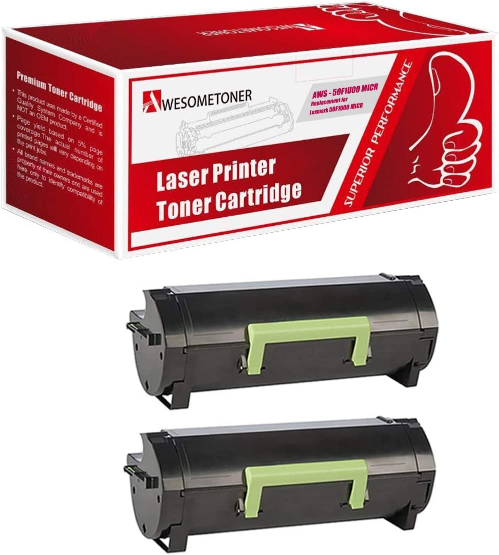 Awesometoner/ Remanufactured/ Made in USA High Yield Toner/ Cartridge/ Replacement/ for/ Lexmark 50F1U00 50F0U0G 50F0UA0 MU510 MICR use/ with/ MS-510 Black, 2-Pack MS-610
