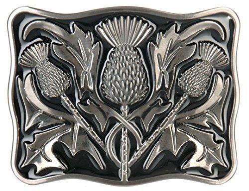 Mens Kilt Belt Buckle Contemporary Thistle Antique Finish with Black Enamel