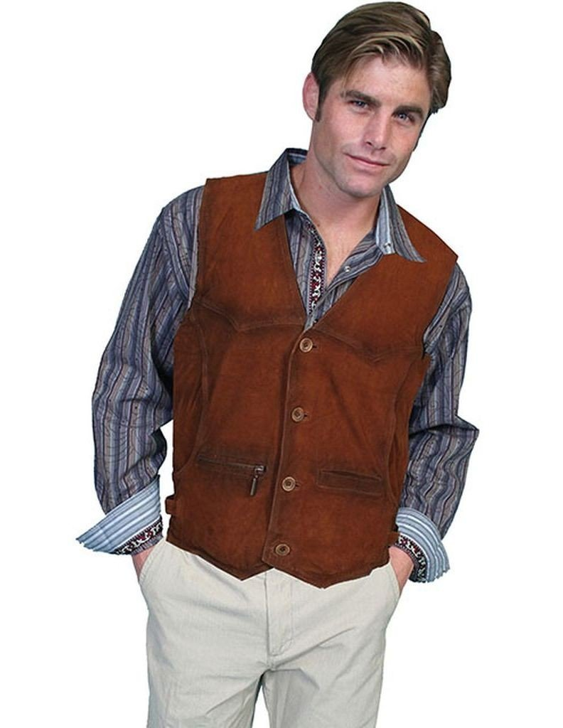 Scully Men's Suede Leather Vest Brown Large