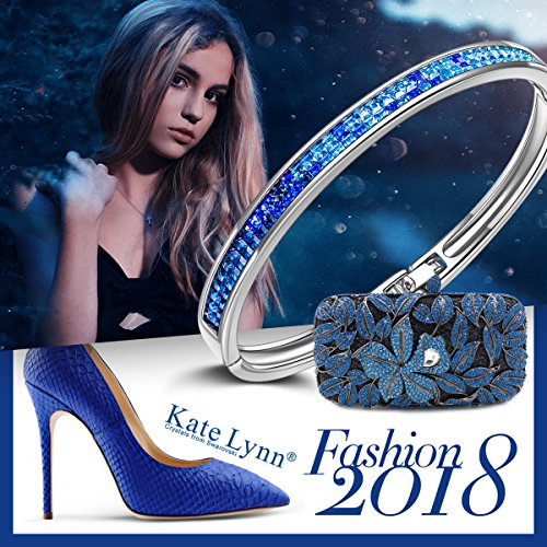 Kate Lynn Bangle Bracelet for Mom Blue Swarovski Crystals Jewelry Gifts for Her Bracelet for Women Birthday Gifts for Wife Teen Girls Gifts Present for Women by Kate Lynn (Image #6)