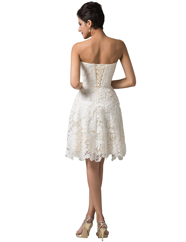 Amazon.com: GRACE KARIN Women\'s Off White Lace Short Bridal Prom ...