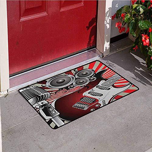 - GloriaJohnson Music Front Door mat Carpet Music Old Fashioned Speaker Loudspeaker Geometrical Striped Background Machine Washable Door mat W23.6 x L35.4 Inch Beige Red Burgundy Grey