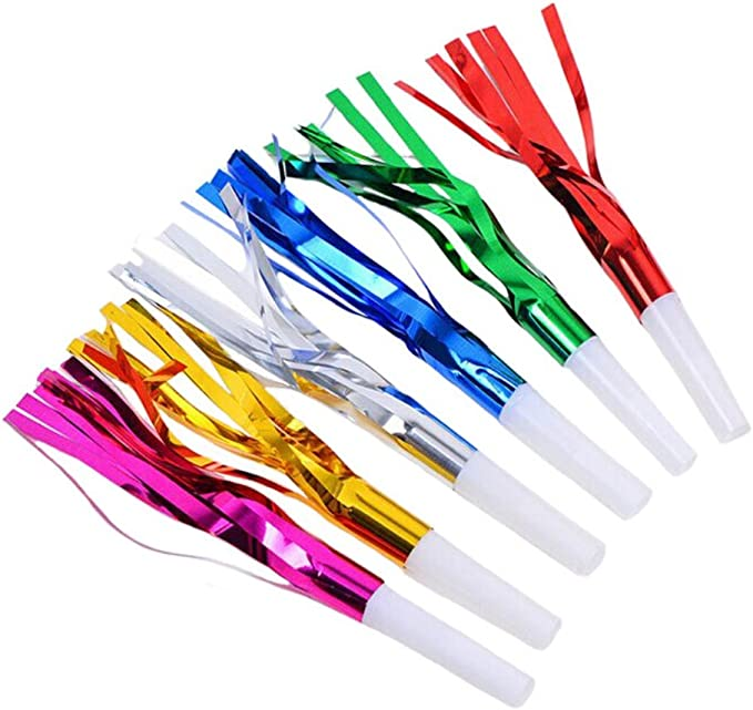 18 Pieces Party Squawkers Party Blower Noisemakers Blowouts Whistles Fringed Noise Maker Gold Musical Blowouts for New Year Party Birthday Baby Shower Party Supplies