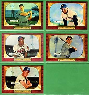 1955 Bowman Baseball Reprint 5 Card Lot Mickey Mantle Willie Mays Eddie Mathews Yogi Berra Hank Aaron