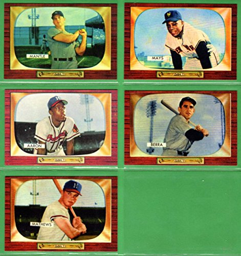 1955 Bowman Baseball Reprint (5) Card Lot (Mickey Mantle) (Willie Mays) (Eddie Mathews) (Yogi Berra) (Hank Aaron) - Mathews Baseball Card